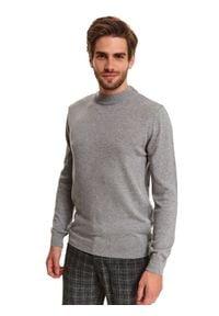TOP SECRET - Sweter półgolf z miękkiej dzianiny. Kolor: szary. Materiał: dzianina. Wzór: gładki. Sezon: wiosna