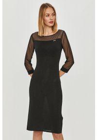 Liu Jo - Sukienka. Kolor: czarny. Materiał: dzianina, materiał. Wzór: gładki. Typ sukienki: dopasowane