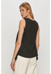 Czarna bluzka Trussardi Jeans elegancka, bez rękawów, na co dzień