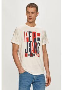 Pepe Jeans - T-shirt Davy. Okazja: na co dzień. Kolor: biały. Materiał: dzianina. Wzór: nadruk. Styl: casual