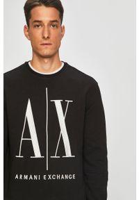 Czarna bluza nierozpinana Armani Exchange bez kaptura, z aplikacjami, casualowa