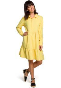 Żółta sukienka wizytowa MOE z falbankami, koszulowa