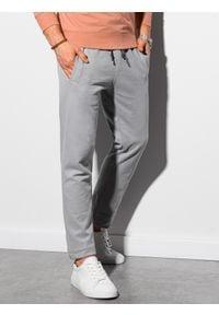 Ombre Clothing - Spodnie męskie dresowe P946 - jasnoszare - XXL. Kolor: szary. Materiał: dresówka
