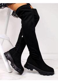 Navy dot - Kozaki damskie na platformie czarne NAVY DOT. Wysokość cholewki: za kolano. Kolor: czarny. Materiał: zamsz. Szerokość cholewki: normalna. Obcas: na platformie