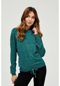 MOODO - Sweter z metaliczną nitką i wiązaniem. Materiał: włókno, poliamid, wiskoza. Długość rękawa: długi rękaw. Długość: długie. Wzór: gładki. Styl: klasyczny