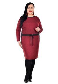 Czerwona sukienka dla puszystych Moda Size Plus Iwanek z dekoltem w łódkę, casualowa, na co dzień, na jesień