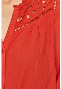 Czerwona koszula Pepe Jeans ze stójką, z długim rękawem