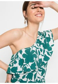 Sukienka one-shoulder bonprix biało-zielony z roślinnym nadrukiem. Kolor: biały. Wzór: nadruk. Sezon: lato