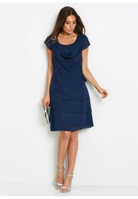 Sukienka szyfonowa w optyce warstwowej bonprix ciemnoniebieski. Typ kołnierza: dekolt woda. Kolor: niebieski. Materiał: szyfon. Styl: elegancki
