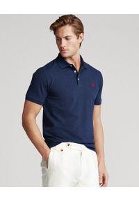 Ralph Lauren - RALPH LAUREN - Granatowa koszulka polo Slim Fit Stretch Mesh. Typ kołnierza: polo. Kolor: niebieski. Materiał: mesh. Wzór: haft, ze splotem, aplikacja. Styl: klasyczny