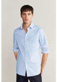 Niebieska koszula Mango Man z włoskim kołnierzykiem, elegancka