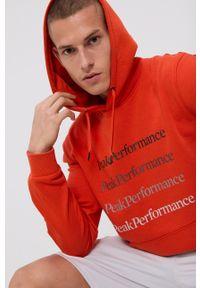 Peak Performance - Bluza. Kolor: pomarańczowy. Materiał: bawełna, dzianina. Wzór: gładki, nadruk
