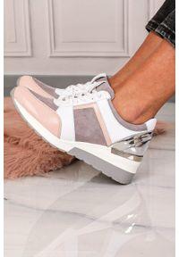 Różowe buty sportowe Kati z aplikacjami, z cholewką