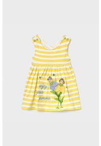 Żółta sukienka Mayoral z nadrukiem, na co dzień