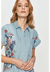Desigual - Koszula. Kolor: niebieski. Materiał: tkanina, jedwab, materiał, lyocell. Długość rękawa: krótki rękaw. Długość: krótkie