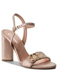 Różowe sandały R.Polański eleganckie, z aplikacjami