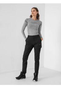 4f - Spodnie trekkingowe damskie. Kolor: czarny. Materiał: tkanina, dzianina, materiał