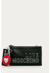 Czarna kopertówka Love Moschino z aplikacjami, z aplikacjami, na ramię