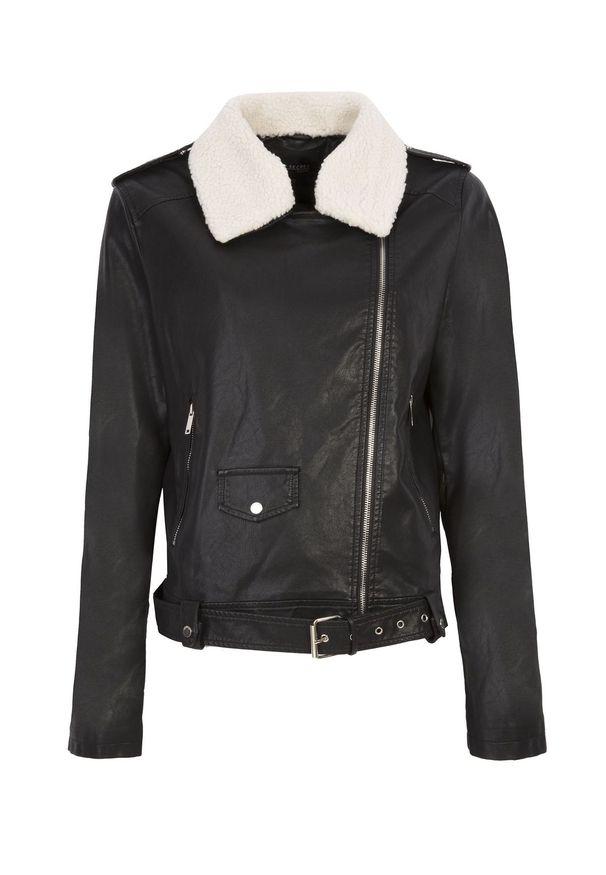 Czarna kurtka TOP SECRET w kolorowe wzory, na jesień, długa