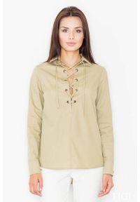 Figl - Oliwkowa Sznurowana Koszula z Długim Rękawem. Kolor: oliwkowy. Materiał: poliester, bawełna. Długość rękawa: długi rękaw. Długość: długie
