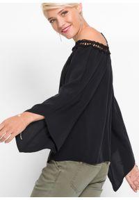 Czarna bluzka bonprix na ramiączkach, w koronkowe wzory