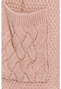 Różowy sweter rozpinany Answear Lab wakacyjny, z długim rękawem, długi