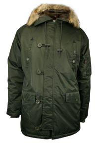 Zielona kurtka Gustaff na zimę, z kapturem
