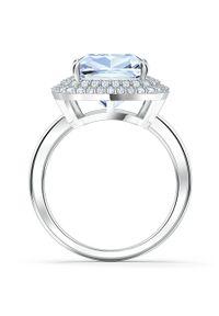 Srebrny pierścionek Swarovski metalowy, z aplikacjami, z kryształem