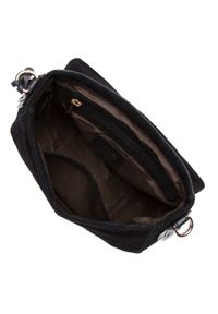Wittchen - Damska listonoszka saddle bag z zamszu. Kolor: czarny. Wzór: haft. Dodatki: z haftem. Materiał: zamszowe, skórzane. Styl: elegancki