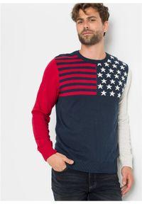 Niebieski sweter bonprix z nadrukiem