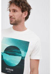 s.Oliver - s. Oliver - T-shirt bawełniany. Okazja: na co dzień. Kolor: beżowy. Materiał: bawełna. Wzór: nadruk. Styl: casual