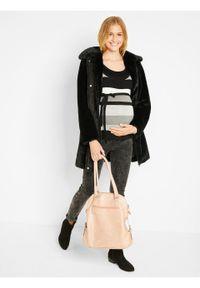 Czarny sweter bonprix moda ciążowa, w paski
