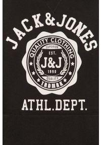 Czarna bluza nierozpinana Jack & Jones z nadrukiem, z kapturem
