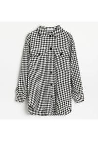 Reserved - Kurtka koszulowa w pepitkę - Czarny. Kolor: czarny
