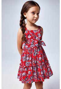 Czerwona sukienka Mayoral z dekoltem karo, mini