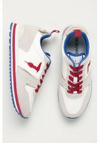 Białe buty sportowe Trussardi Jeans na sznurówki, na średnim obcasie, na obcasie