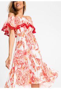 Sukienka z dekoltem carmen bonprix biało-pomarańczowy w roślinny wzór. Typ kołnierza: typu carmen. Kolor: biały. Wzór: nadruk. Styl: elegancki