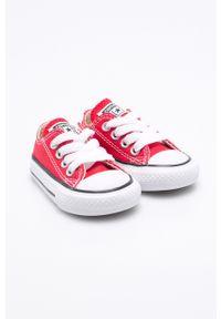Czerwone trampki Converse z okrągłym noskiem, na sznurówki, z cholewką