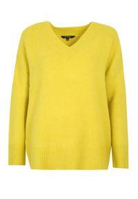 TOP SECRET - Sweter z dekoltem w serek. Typ kołnierza: dekolt w serek. Kolor: żółty. Materiał: dzianina. Długość: długie. Sezon: jesień, zima