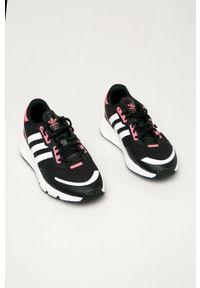 Czarne buty sportowe adidas Originals na obcasie, z okrągłym noskiem, na sznurówki