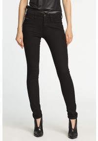 Czarne jeansy Diesel z aplikacjami, na zimę