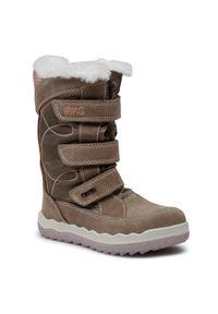 Brązowe buty zimowe Primigi z cholewką, na spacer