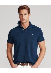 Ralph Lauren - RALPH LAUREN - Granatowa koszulka Slim Fit. Typ kołnierza: polo. Kolor: niebieski. Wzór: haft