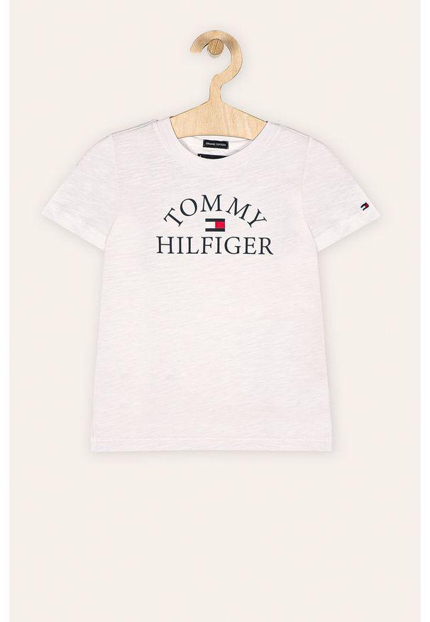Biały t-shirt TOMMY HILFIGER z nadrukiem, z okrągłym kołnierzem