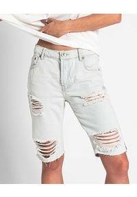 ONETEASPOON - Jeansowe spodenki Brando Truckers. Stan: obniżony. Kolor: niebieski. Materiał: jeans. Wzór: aplikacja. Sezon: lato