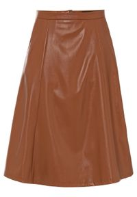 Spódnica ze sztucznej skóry bonprix ciemny koniakowy. Kolor: brązowy. Materiał: skóra