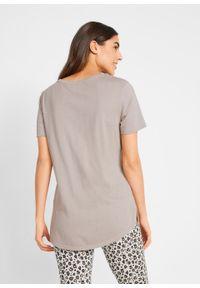 T-shirt z aplikacją bonprix kamienisto-łososiowy leo. Kolor: szary. Wzór: aplikacja