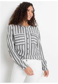 Długa bluzka w paski bonprix szaro-biały w paski. Kolor: szary. Długość: długie. Wzór: paski