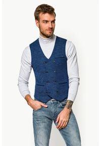 Lancerto - Kamizelka Granatowa w Pepitkę Nevada. Kolor: niebieski. Materiał: jeans, wiskoza, dzianina, tkanina, poliester. Styl: sportowy