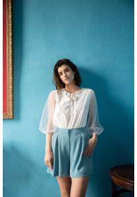 Niebieskie spodnie z wysokim stanem MOE z podwyższonym stanem, krótkie, eleganckie